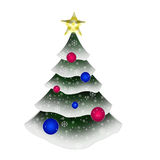 Albero sempreverde decorato Immagine Stock