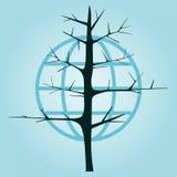 Albero senza foglie su un fondo del globo Immagini Stock