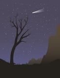 Albero solo alla notte Fotografie Stock Libere da Diritti