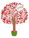 Albero stilizzato dei cuori per il giorno degli amanti Illustrazione di vettore Fotografia Stock Libera da Diritti