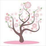 Albero stilizzato e astratto della molla Fiori sui rami, fiori sull'albero Fiore di Sakura, bei fiori rosa, fiorenti royalty illustrazione gratis