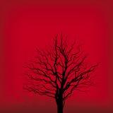 Albero su colore rosso (vettore) Fotografia Stock Libera da Diritti