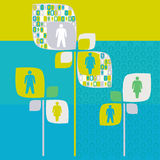 Albero umano di sociologia con il pittogramma della gente illustrazione vettoriale