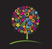 Albero variopinto con i fiori Immagini Stock Libere da Diritti