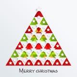 Albero variopinto di natale per le celebrazioni di Buon Natale Immagini Stock