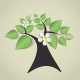 Albero verde con i fiori Illustrazione Vettoriale
