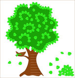 Albero verde con il nido Fotografia Stock Libera da Diritti