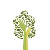 Albero verde con la mano Logo Icon Flat Immagini Stock Libere da Diritti