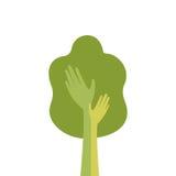 Albero verde con la mano Logo Icon Flat Fotografie Stock