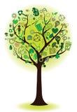 Albero verde con le icone ecologiche Fotografia Stock