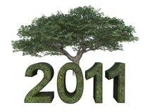 Albero verde di anno 2011 Fotografie Stock