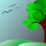 Albero verde nei cieli e nei prati scuri Fotografia Stock Libera da Diritti