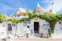 Alberobello, Apulia - JUNE 1, 2017 - A typical souvenir shop in. Alberobello, Apulia, Italy - JUNE 1, 2017 - A typical souvenir shop in the old town stock photography