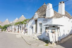 Alberobello, Apulia - White walls and round roof tops in Alberobello. Alberobello, Apulia, Italy - White walls and round roof tops in Alberobello royalty free stock photos