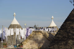 Alberobello. Clothes to dry. On the roof. Everyday scenes Stock Photography