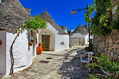 Alberobello houses. Unique Trulli houses with conical roofs in Alberobello, Italy, Puglia Royalty Free Stock Image