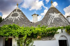 Alberobello, Italy. Beautiful town of Alberobello with trulli houses s. royalty free stock photo