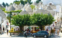 ALBEROBELLO, ITALY - JULY 31, 2017: beautiful town of Alberobell stock image