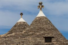 Alberobello, Italy. Roof of the Trulli house. Typical historical house of Alberobello's town. Holiday destination in Apulia. Italy Royalty Free Stock Photography