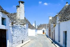 The trulli of Alberobello. Alberobello, Italy, the Trulli, rural dwellings of medieval origin made with dry stones and conical roof Royalty Free Stock Image