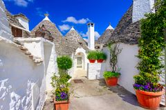 Alberobello, Puglia, Italy: Typical houses built with dry stone Royalty Free Stock Images