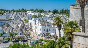 Scenic sight in Alberobello, the famous Trulli village in Apulia, southern Italy. Royalty Free Stock Photography