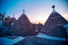 ALBEROBELLO, Tradycyjni trulli domy w Alberobello, Włochy Fotografia Stock