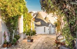 Alberobello Trulli, Apulia, Puglia, Italië stock foto's