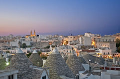 Alberobello with trulli's at night Stock Photos