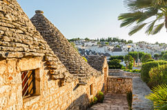 Alberobello, trulli at sunset, Puglia Royalty Free Stock Photos