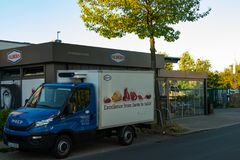 Dusseldorf Germany July 1st 2018: Albers meat culture service truck parking in front of their store stock image
