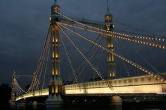 Albert Bridge. London, Bridge over Thames River Royalty Free Stock Image