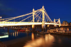 Albert. Bridge in Central London at night stock photography