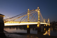Albert Bridge, Chelsea, London at Night Royalty Free Stock Images