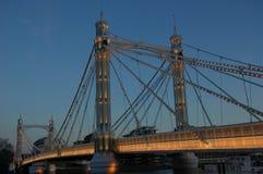 Albert Bridge in the evning. stock photos