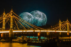 Albert Bridge Fireworks Stockbilder