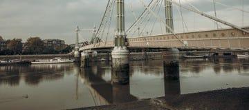 Albert Bridge. london. The Albert bridge  on the river Thames at sunset Stock Photos