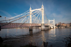 Albert Bridge, London, on a sunny day. Royalty Free Stock Images
