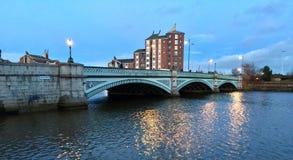 Albert Bridge, River Lagan. Belfast. Northern Ireland. Early evening light on the Lagan River, Belfast Royalty Free Stock Photo