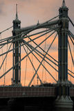 Albert bridge at sunset. Scenic view of Albert bridge at sunset over river Thames, Chelsea, London, England Royalty Free Stock Images