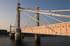 Albert Bridge at Sunset. The Albert Bridge at sunset in London, near Chelsea and Battersea Royalty Free Stock Images