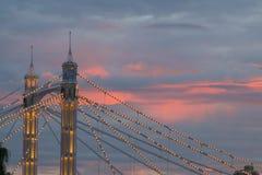 Albert Bridge at Sunset. Albert Bridge on the river Thames in London at sunset Royalty Free Stock Photos