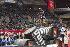 Albert Cabestany. Compete at Trial Indoor of Barcelona, on February 9, 2014, in Palau Sant Jordi stadium, Barcelona, Spain. Toni Bou was the winner Royalty Free Stock Photo