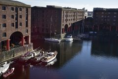The Albert Dock is a complex of dock buildings and warehouses in Liverpool, England. Royalty Free Stock Images