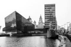 Albert Dock i Liverpool, UK - komplex av byggnader och lager fotografering för bildbyråer