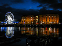 Albert Dock la nuit, Liverpool Images stock