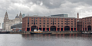 The Albert Dock and Liver Buildings Liverpool UK Royalty Free Stock Photography