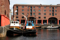 Albert dock,Liverpool. Moored boats in Albert dock,Liverpool Stock Images