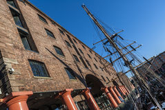 Albert Dock Liverpool. The Albert dock Liverpool With A Sailing Ship Stock Photography