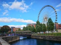 Albert dock,old dock in Liverpool. Albert dock,old dock in Liverpool in Britian,A cloudy day.Albert Harbor was closely related to import and export trade royalty free stock images